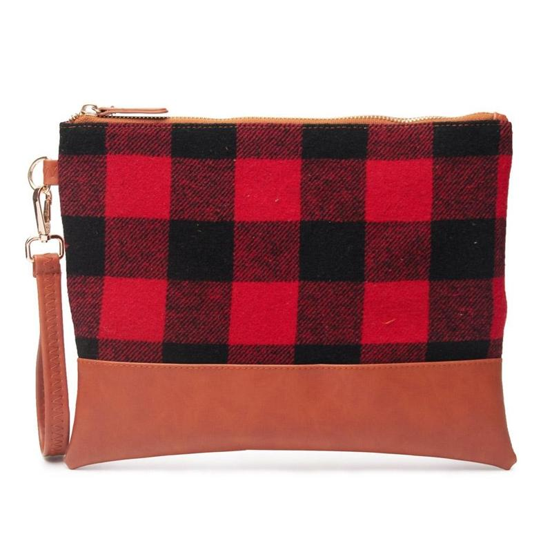 Buffalo Plaid Clutch Durable and Lightweight Wristlet Handbags & Wallets Red - DailySale