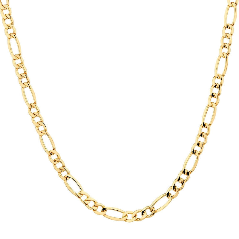 Solid 10K Gold Diamond Cut Italian Crafted Figaro Chain - Assorted Sizes - DailySale, Inc