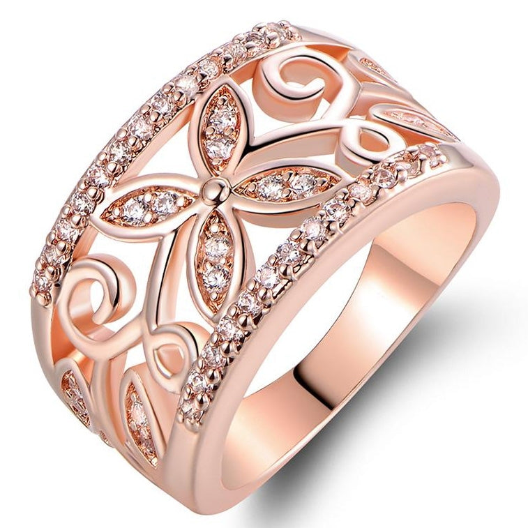 18K Rose Gold Plated Flower Filigree Ring made with Swarovski Elements - Assorted Sizes - DailySale, Inc