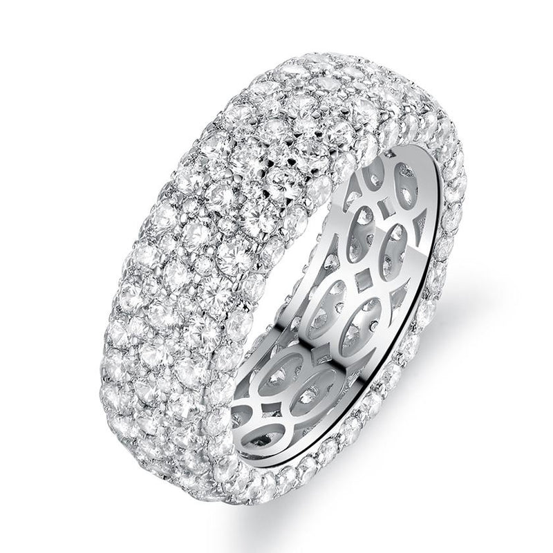 18K White Gold Plated Five Row Eternity Ring Made with Swarovski Elements - Assorted Sizes