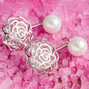 18K White Gold Plated Shell Pearl and Swarovski Elements Earrings - DailySale, Inc