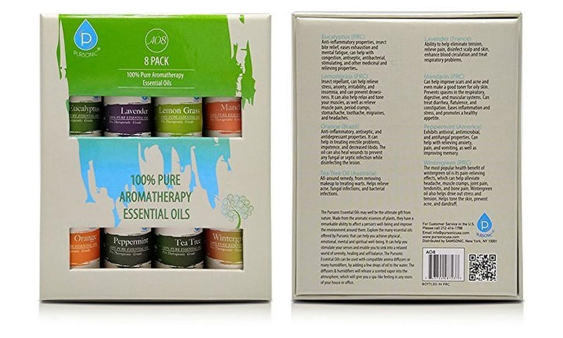 8-Pack: Pursonic 100% Pure Aromatherapy Essential Oils Set - DailySale, Inc