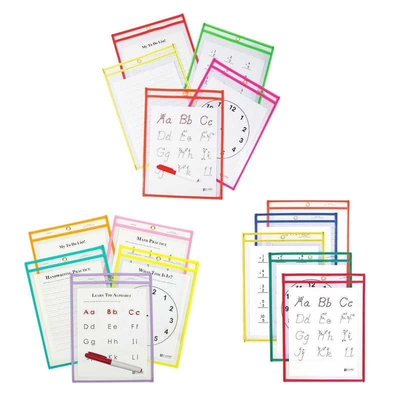 25-Pack: Reusable Dry Erase Pockets - Assorted Colors - DailySale, Inc
