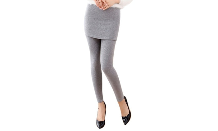 Thick Lined Leggings with Attached Skirt - Light Gray - DailySale, Inc