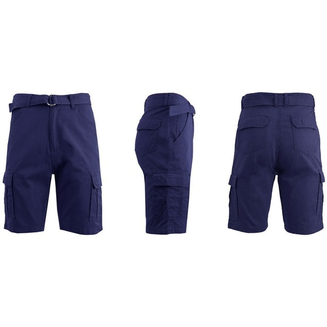 Men's 100% Cotton Belted Cargo Shorts - Assorted Colors and Sizes - DailySale, Inc