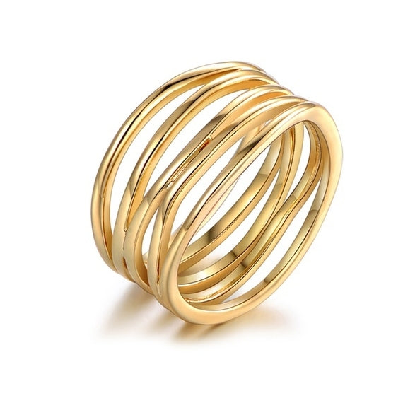 Five Layer Stack Ring in 18K Gold Plating - Assorted Sizes - DailySale, Inc