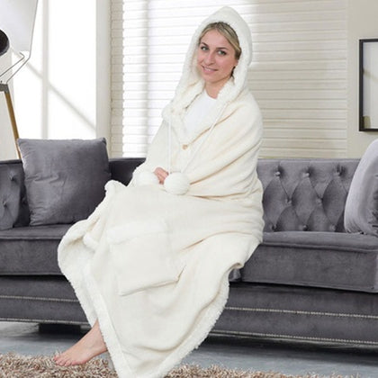 Jellie Cozy and Ultra Plush Sherpa Hoodie Throw - DailySale, Inc