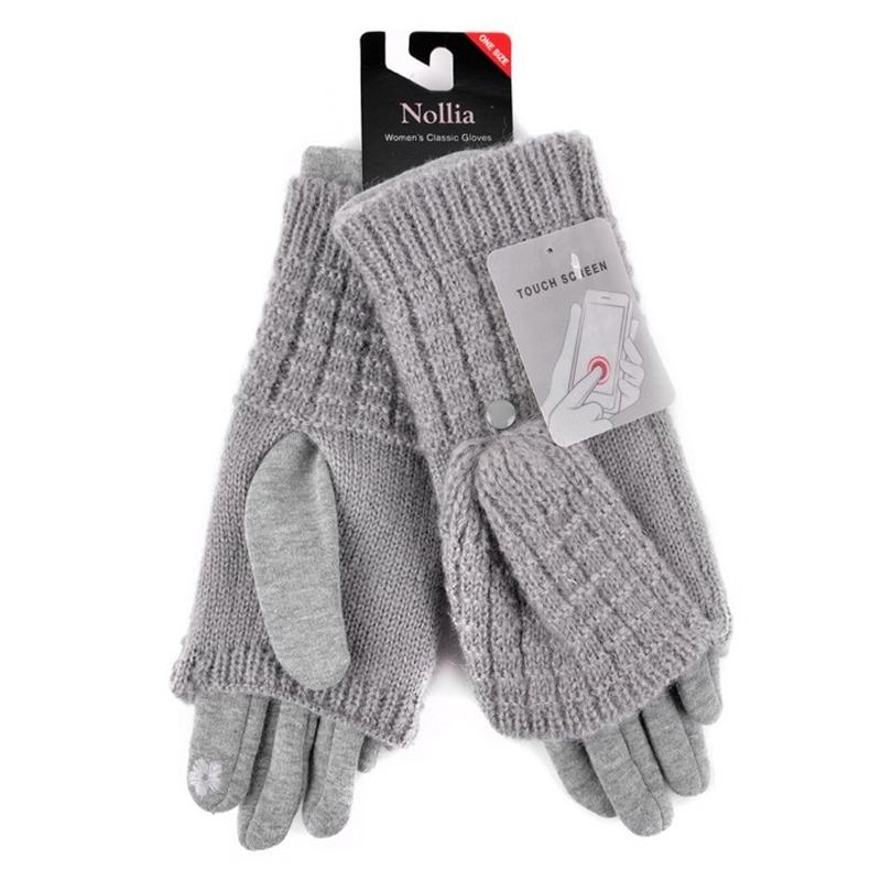 Cable Knit Women's Winter Cute Gloves Women's Apparel Gray - DailySale