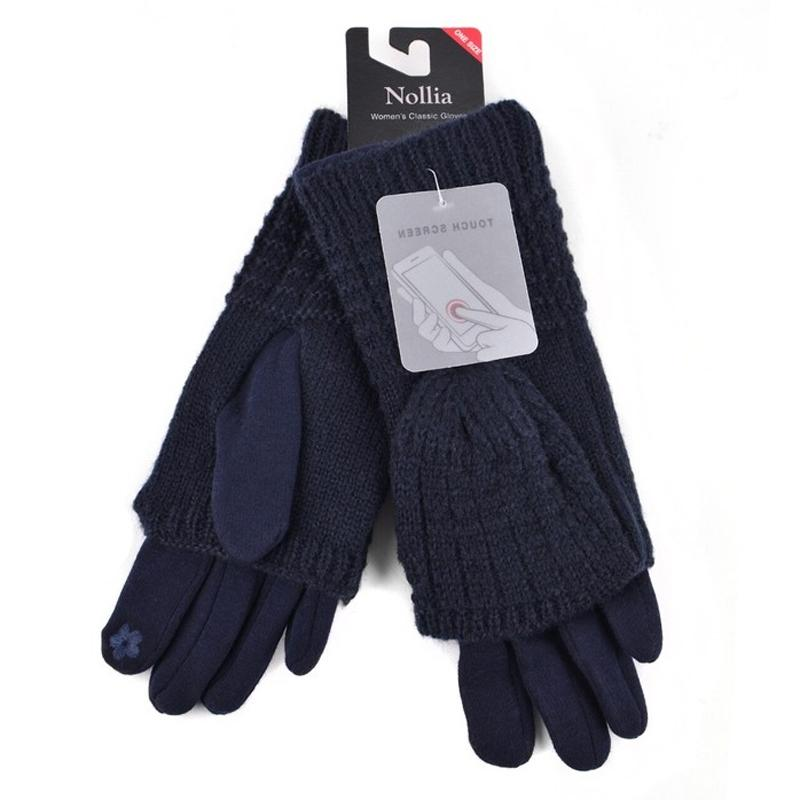 Cable Knit Women's Winter Cute Gloves Women's Apparel Navy - DailySale
