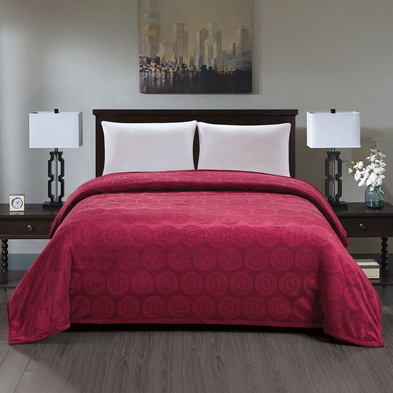 Caesar French Collection Flannel Fleece Blanket Bedding Burgundy Queen - DailySale