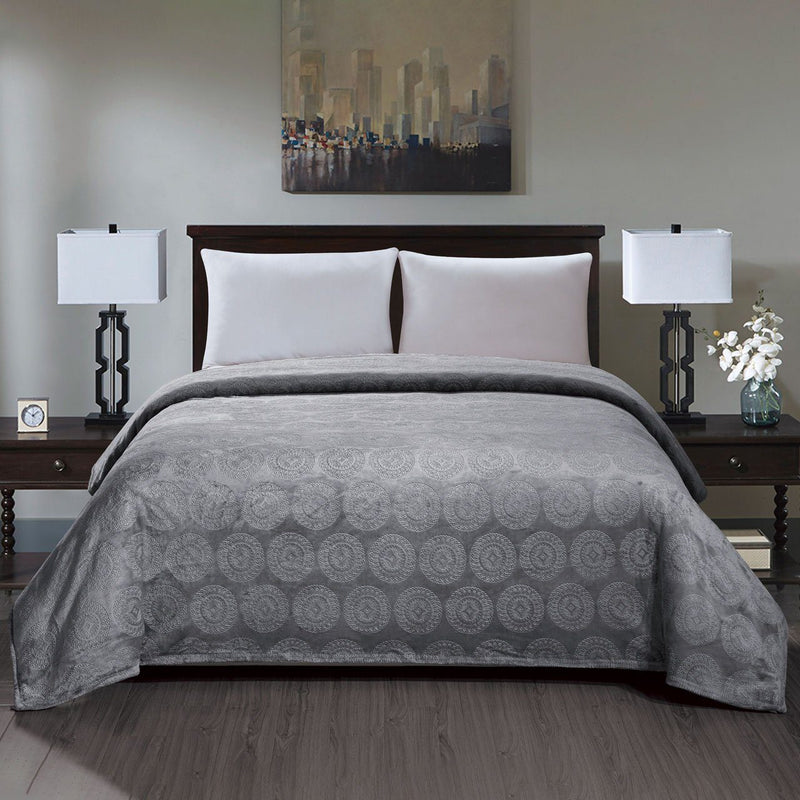 Caesar French Collection Flannel Fleece Blanket Bedding Gray Queen - DailySale