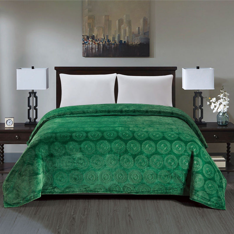 Caesar French Collection Flannel Fleece Blanket Bedding Green Queen - DailySale