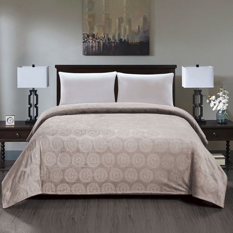 Caesar French Collection Flannel Fleece Blanket Bedding Ivory Queen - DailySale