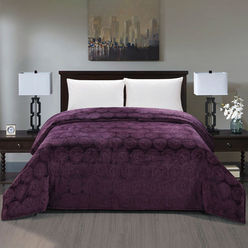 Caesar French Collection Flannel Fleece Blanket Bedding Plum Queen - DailySale