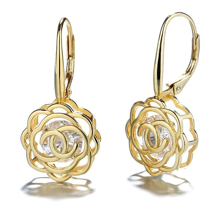 Caged Swarovski Crystal Rose Lever Back Earrings Earrings Gold - DailySale
