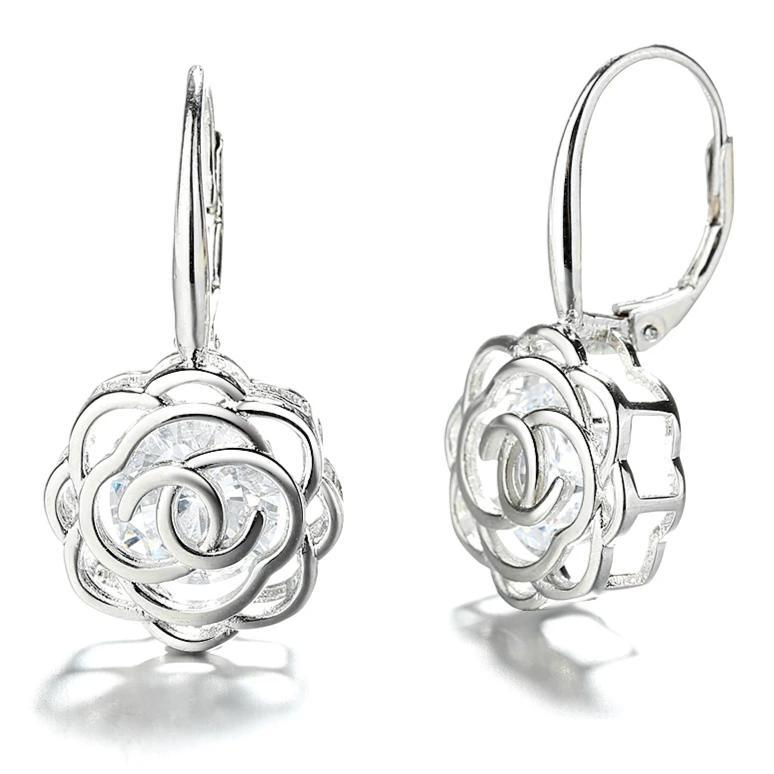 Caged Swarovski Crystal Rose Lever Back Earrings Earrings Silver - DailySale