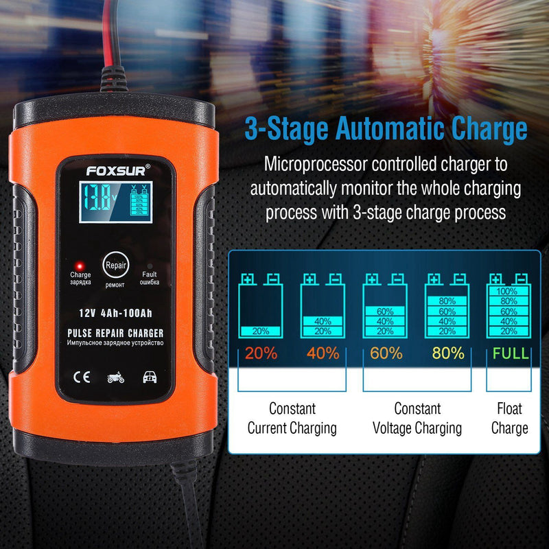 Car Battery Charger 12V 5A Recover Pulse Repair Automotive - DailySale