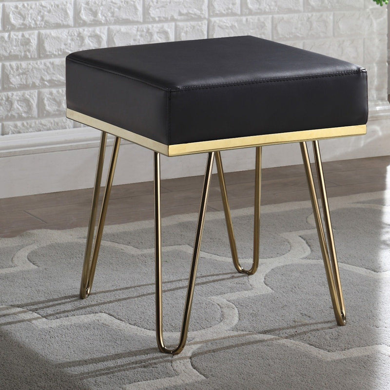Catheau Square Ottoman Brass Finished Frame Hairpin Legs Furniture & Decor Black - DailySale