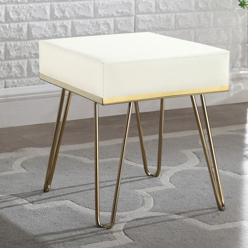 Catheau Square Ottoman Brass Finished Frame Hairpin Legs Furniture & Decor Cream - DailySale