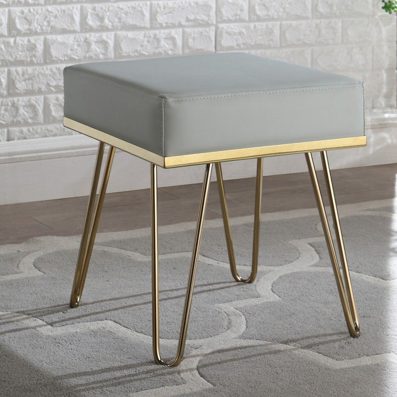 Catheau Square Ottoman Brass Finished Frame Hairpin Legs Furniture & Decor Gray - DailySale