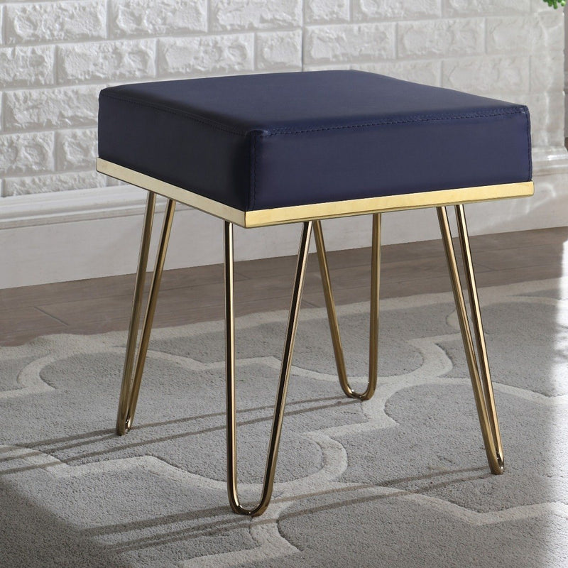 Catheau Square Ottoman Brass Finished Frame Hairpin Legs Furniture & Decor Navy - DailySale