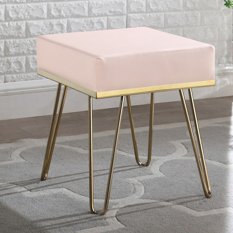 Catheau Square Ottoman Brass Finished Frame Hairpin Legs Furniture & Decor Taupe - DailySale