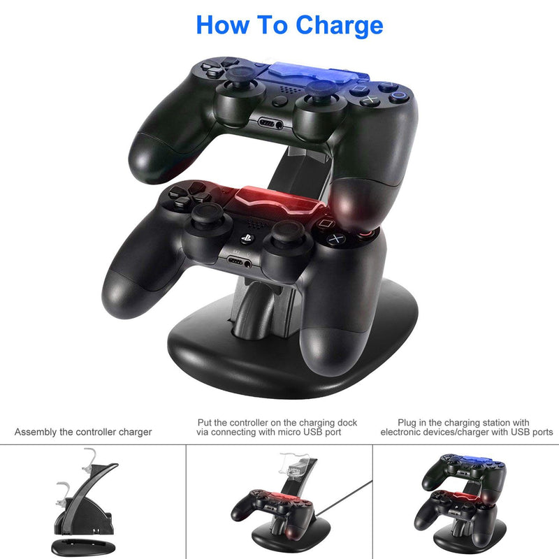 Charging Dock Station Dual Micro USB Stand for PS4 Pro Video Games & Consoles - DailySale