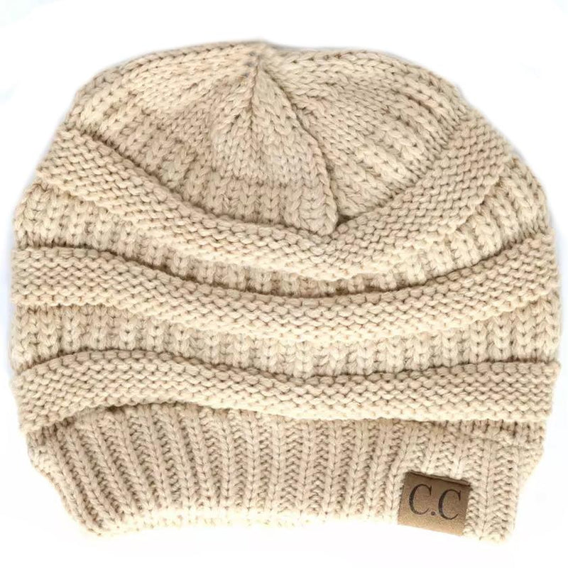 Cheveux Corp. Women's Solid Classic CC Beanie Women's Accessories Beige - DailySale