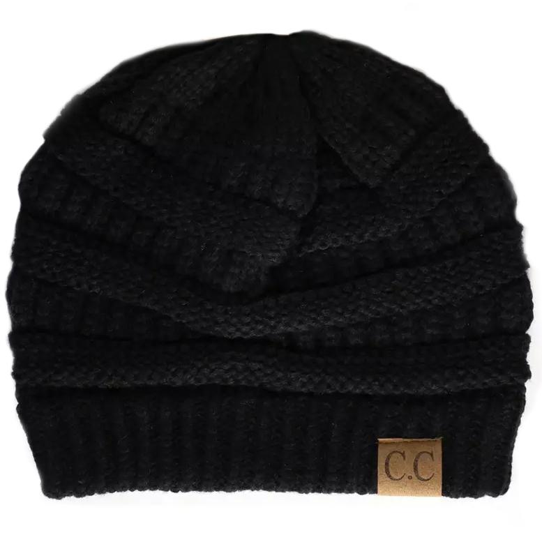Cheveux Corp. Women's Solid Classic CC Beanie Women's Accessories Black - DailySale