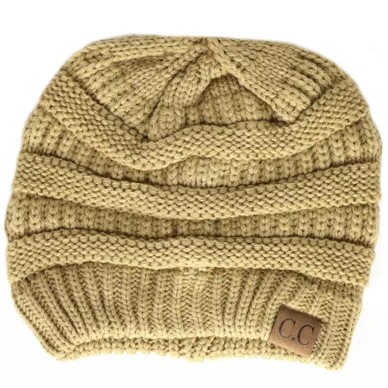 Cheveux Corp. Women's Solid Classic CC Beanie Women's Accessories Camel - DailySale