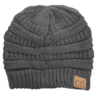 Cheveux Corp. Women's Solid Classic CC Beanie Women's Accessories Gray - DailySale