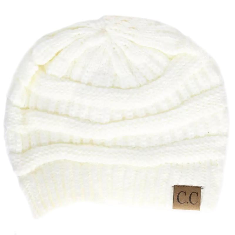 Cheveux Corp. Women's Solid Classic CC Beanie Women's Accessories Ivory - DailySale