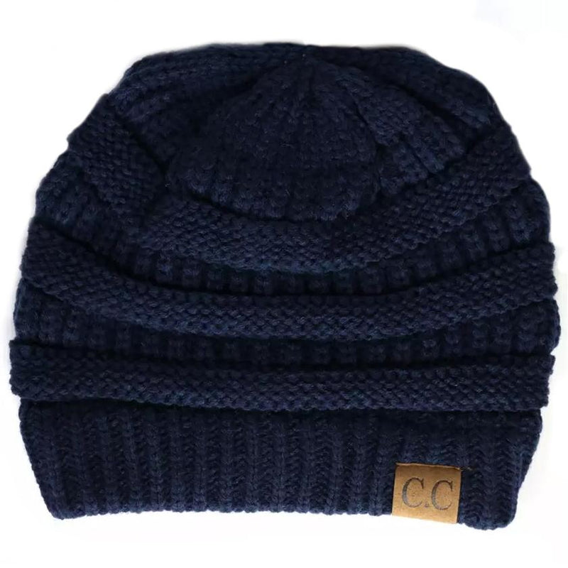 Cheveux Corp. Women's Solid Classic CC Beanie Women's Accessories Navy - DailySale