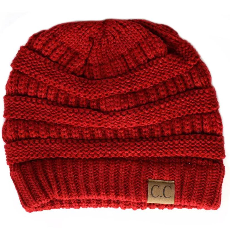 Cheveux Corp. Women's Solid Classic CC Beanie Women's Accessories Red - DailySale