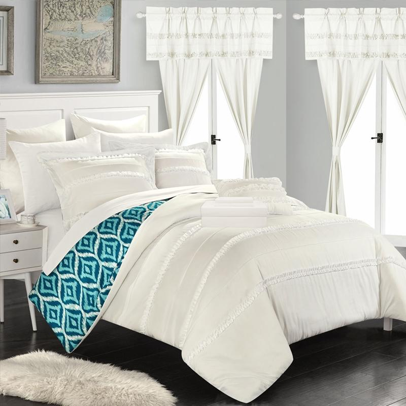 Chic Home Adina 20 Piece Reversible Comforter Set Bed Linen & Bedding Queen White - DailySale