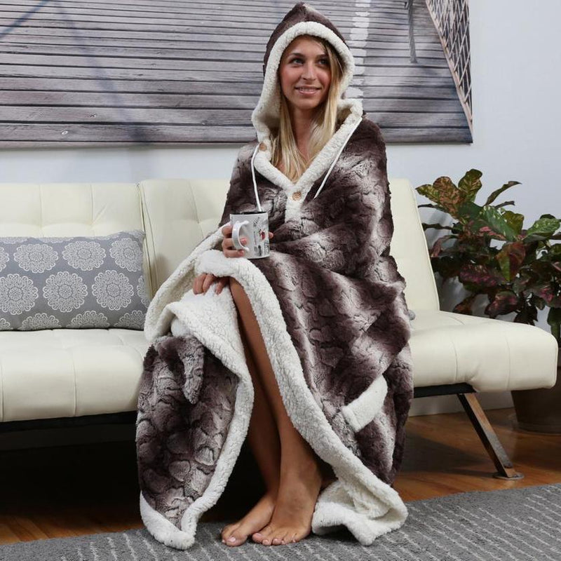 Chic Home Sherpa-Lined Hoodie Robe Women's Apparel Brown - DailySale