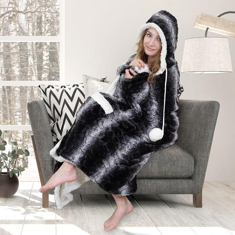 Chic Home Sherpa-Lined Hoodie Robe Women's Apparel Charcoal - DailySale