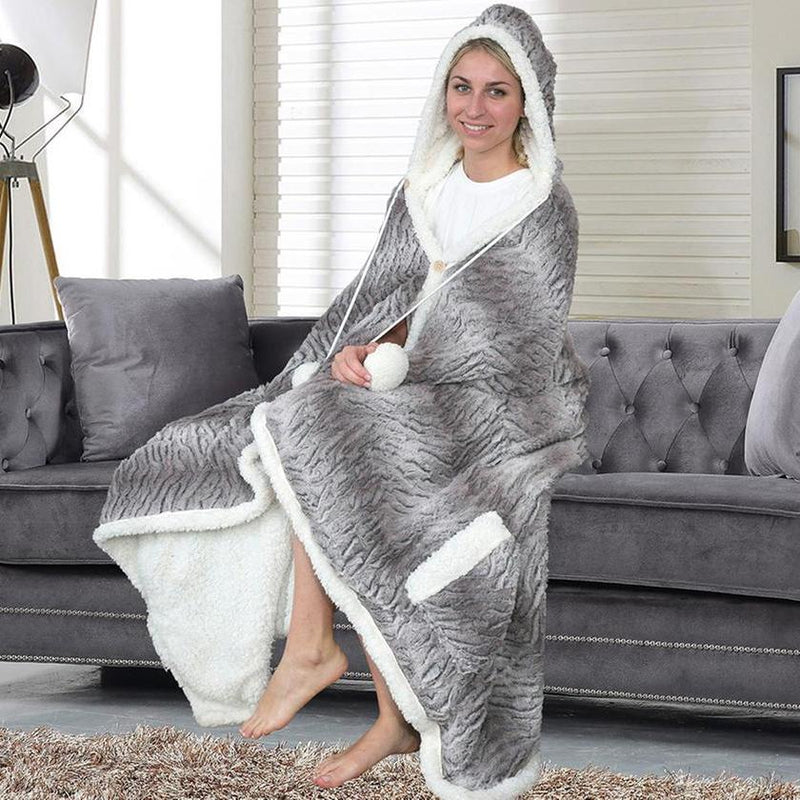 Chic Home Sherpa-Lined Hoodie Robe Women's Apparel Dark Gray - DailySale