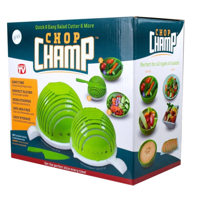 Chop Champ Set of Two Salad Cutter with Knife Kitchen Essentials - DailySale
