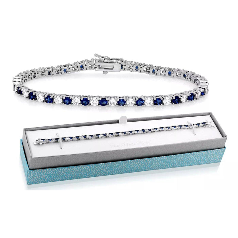 Classic Created Blue Sapphire Tennis Bracelet with Gift Box by MUIBLU Gems Bracelets - DailySale
