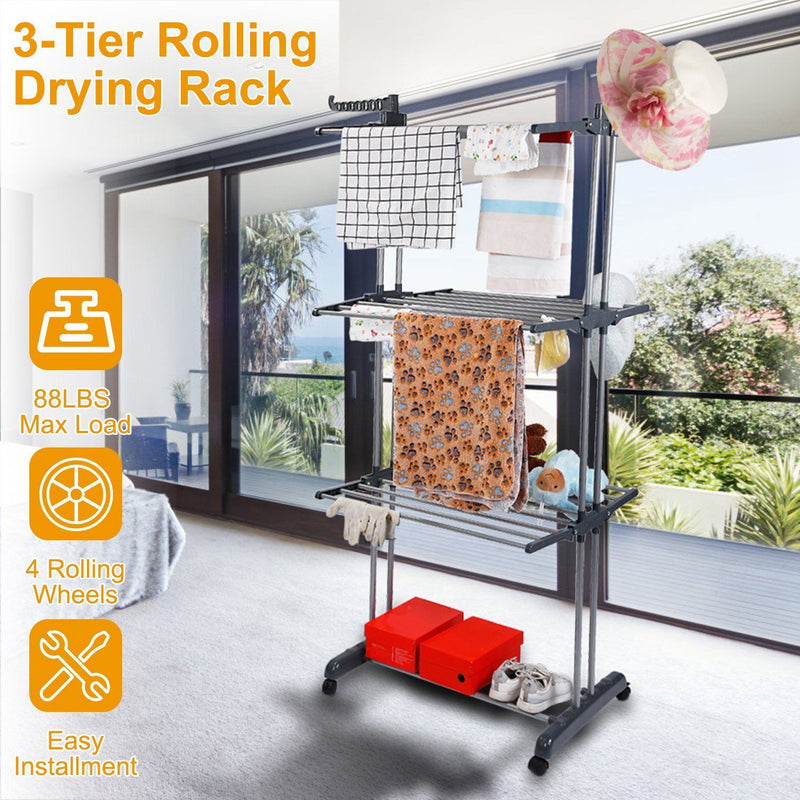 Clothes Drying Rack Rolling Collapsible Laundry Dryer Hanger Stand Rail Closet & Storage - DailySale