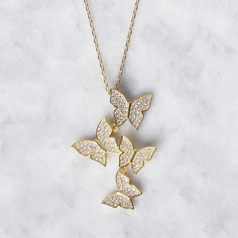 Cluster Hanging Butterflies Necklace - Assorted Colors Jewelry - DailySale