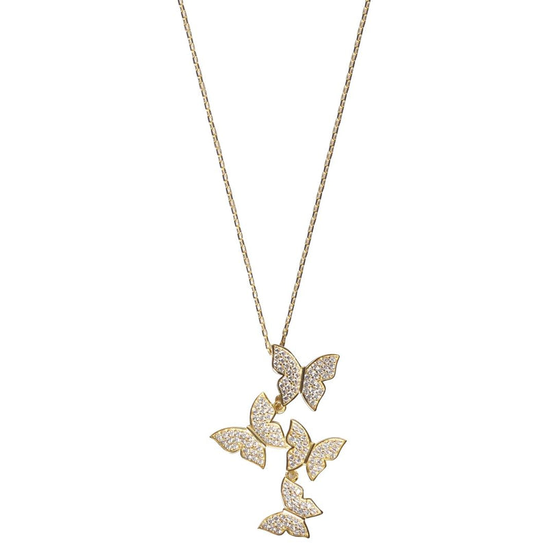 Cluster Hanging Butterflies Necklace - Assorted Colors Jewelry Gold - DailySale