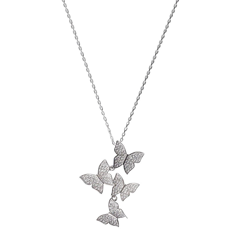 Cluster Hanging Butterflies Necklace - Assorted Colors Jewelry Silver - DailySale