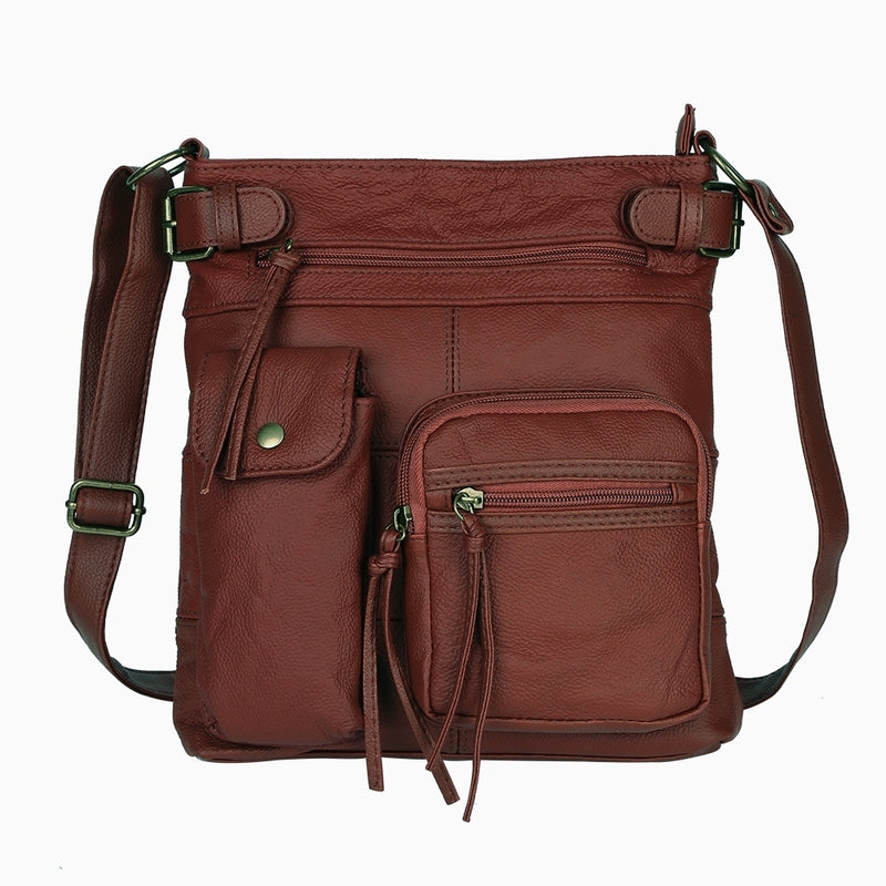 Super Soft Genuine Leather Top Belt Accent Crossbody Bag - Assorted Color - DailySale, Inc