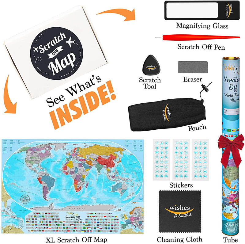 Coin Scratch Travel World Map and All Country Flags Bags & Travel - DailySale