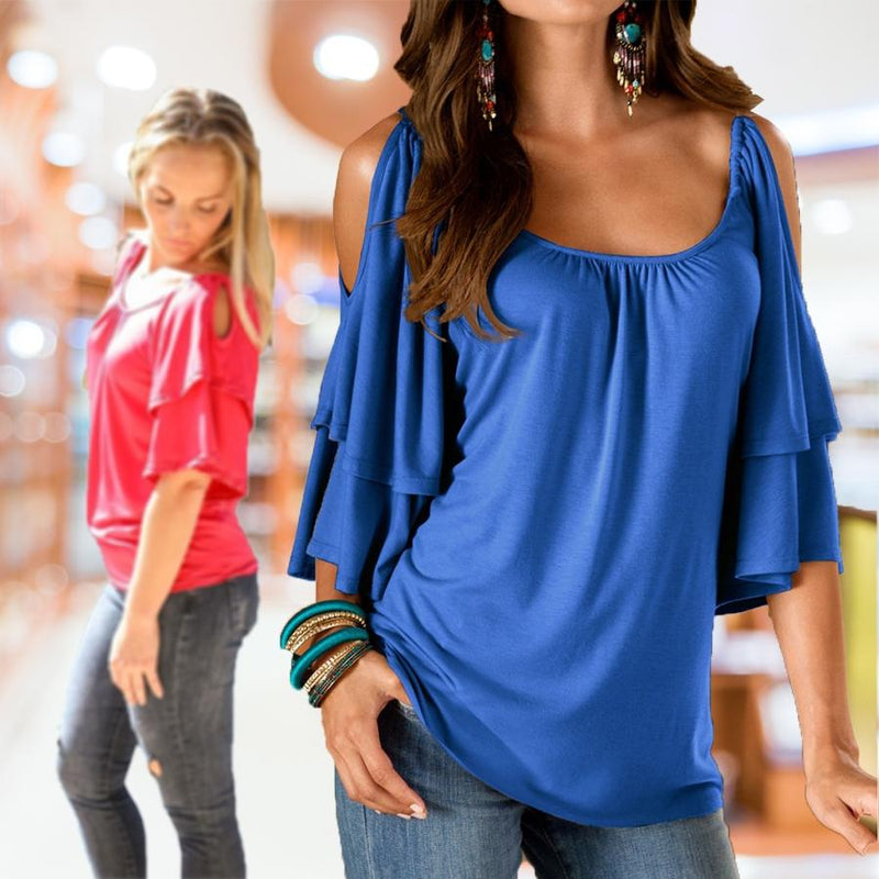 Cold Shoulder Ruffle Top - Assorted Sizes Women's Apparel - DailySale