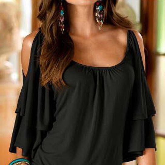 Cold Shoulder Ruffle Top - Assorted Sizes Women's Apparel M Black - DailySale