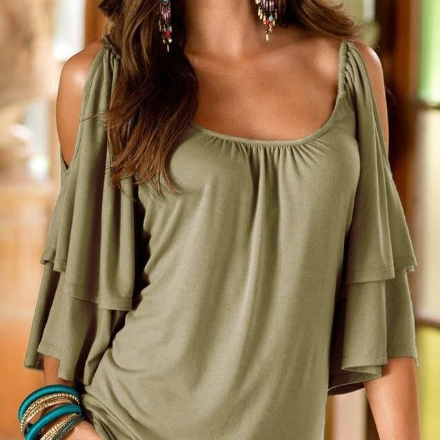 Cold Shoulder Ruffle Top - Assorted Sizes Women's Apparel M Green - DailySale