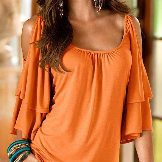 Cold Shoulder Ruffle Top - Assorted Sizes Women's Apparel M Orange - DailySale
